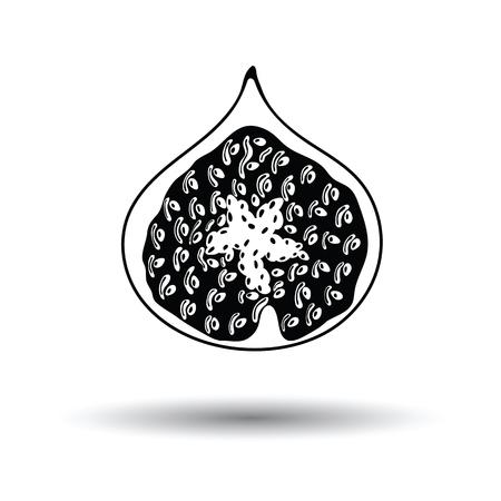 Ikona owocu figowego. Białe tło z cieniem. Ilustracja wektorowa. Ilustracje wektorowe