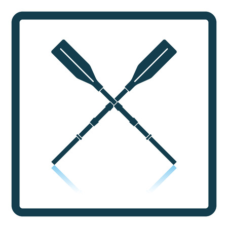 Icon of boat oars on gray background, round shadow. Shadow reflection design. Vector illustration. Vecteurs