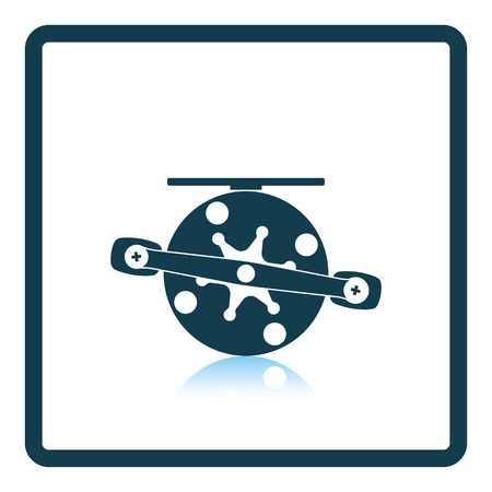 Icon of Fishing reel on gray background, round shadow. Shadow reflection design. Vector illustration.