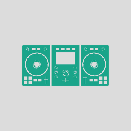 DJ icon. Gray background with green. Vector illustration.