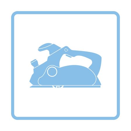 Electric planer icon. Blue frame design. Vector illustration.