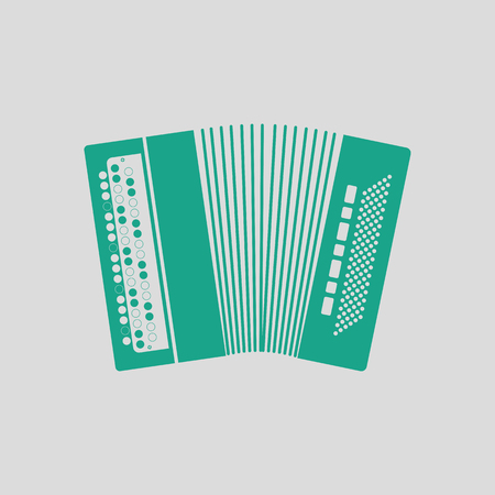 Accordion icon. Gray background with green. Vector illustration.