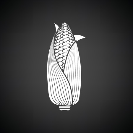 Corn icon. Black background with white. Vector illustration.