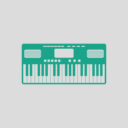 Music synthesizer icon. Gray background with green. Vector illustration.