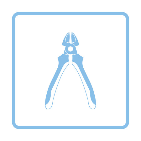 Side cutters icon. Blue frame design. Vector illustration.