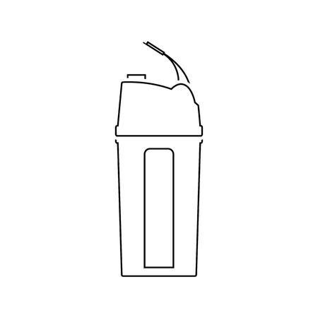 Fitness bottle icon. Thin line design. Vector illustration.