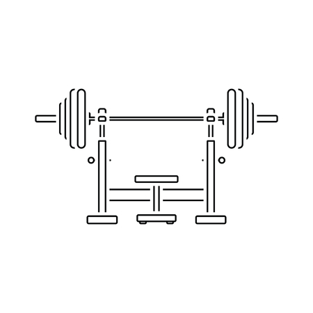 Icon of Bench with barbell. Thin line design. Vector illustration. Illustration