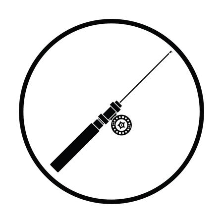 Icon of Fishing winter tackle . Thin circle design. Vector illustration.