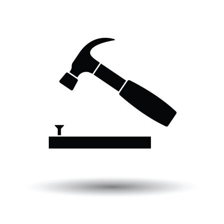Icon of hammer beat to nail. White background with shadow design. Vector illustration. Иллюстрация
