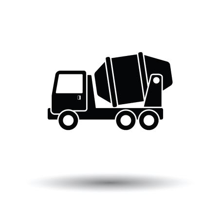 Icône du camion malaxeur à béton. Fond blanc avec design d'ombre. Illustration vectorielle. Vecteurs