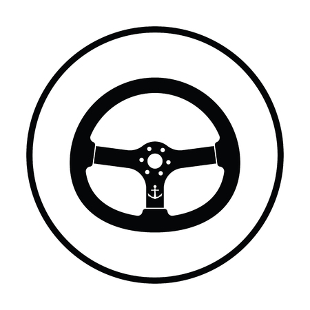 Icon of  steering wheel . Thin circle design. Vector illustration. Ilustração