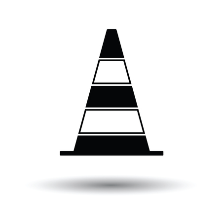 Icon of Traffic cone. White background with shadow design. Vector illustration. Illustration