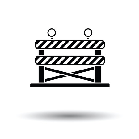 Icon of construction fence. White background with shadow design. Vector illustration.