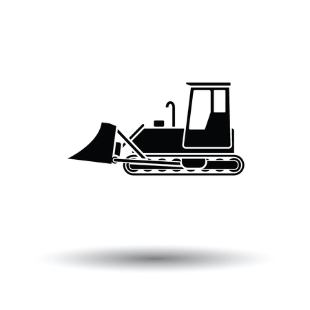 Icon of Construction bulldozer. White background with shadow design. Vector illustration. Vettoriali