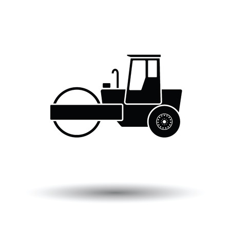 Icon of road roller. White background with shadow design. Vector illustration.  イラスト・ベクター素材