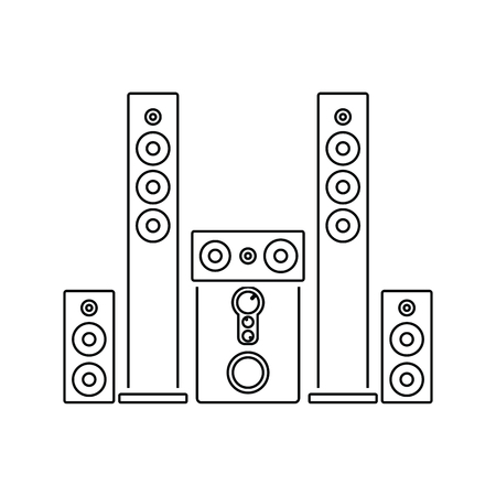 Audio system speakers icon. Thin line design. Vector illustration.