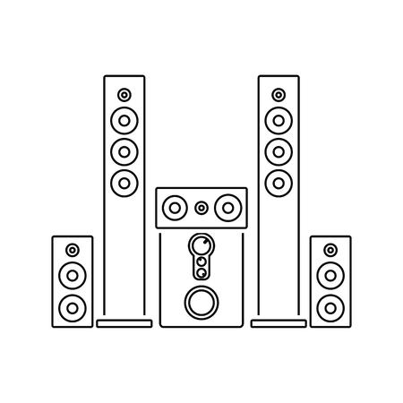 Audiosystem-Lautsprechersymbol. Dünnes Liniendesign. Vektorillustration. Vektorgrafik