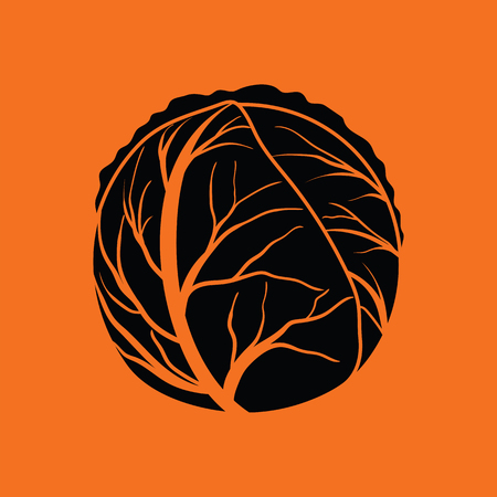Cabbage icon. Orange background with black. Vector illustration.