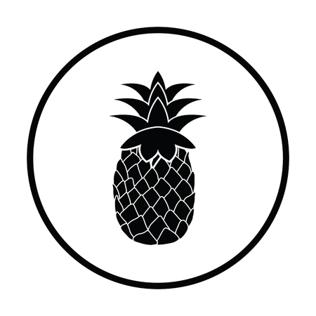 Icon of Pineapple. Thin circle design. Vector illustration.
