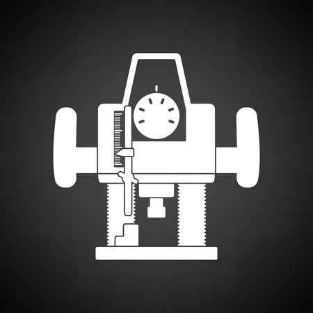 Plunger milling cutter icon. Black background with white. Vector illustration. Çizim