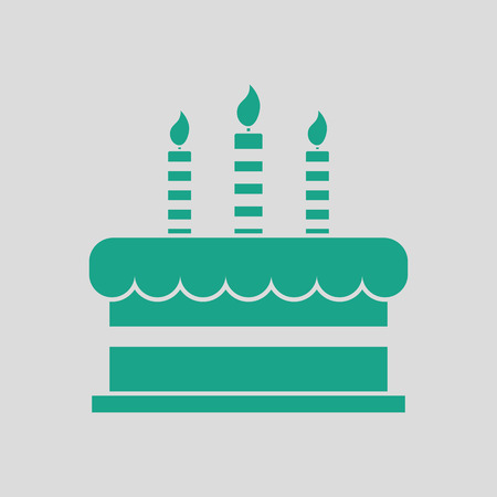 Party cake icon. Gray background with green. Vector illustration.