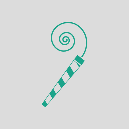Party whistle icon. Gray background with green. Vector illustration.