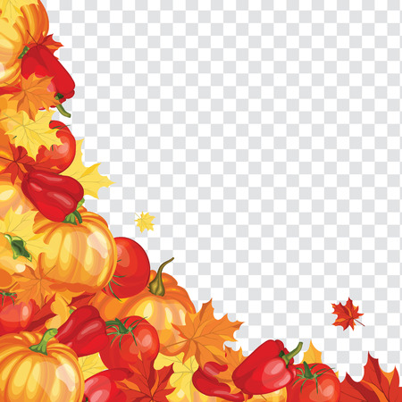 Thanksgiving Day Greeting Card. Design Consist From Pumpkin, Pepper, Tomato, Maple Leaves Over Transparency (alpha) grid With Sun Rays and Flares.  Very Cute and Warm Colors. Vector illustration. Çizim