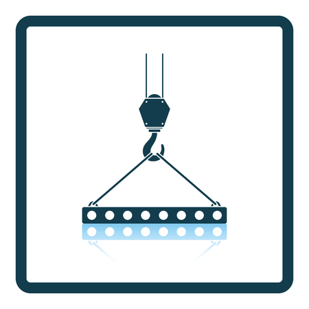Icon of slab hanged on crane hook by rope slings . Shadow reflection design. Vector illustration.