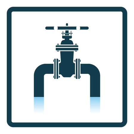 Icon of Pipe with valve. Shadow reflection design. Vector illustration. 向量圖像