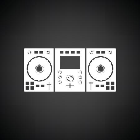 DJ icoon. Zwarte achtergrond met wit. Vector illustratie. Vector Illustratie