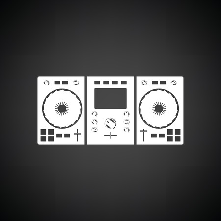 DJ icon. Black background with white. Vector illustration.