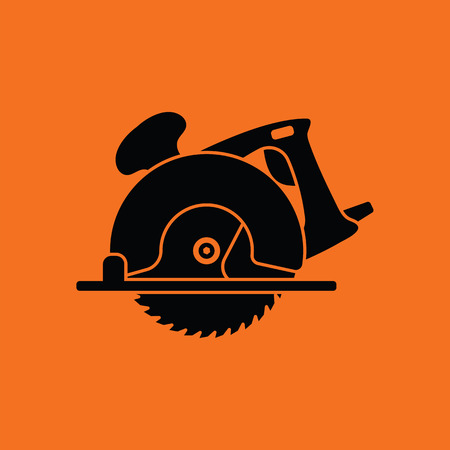 Circular saw icon. Orange background with black. Vector illustration. Stock Illustratie