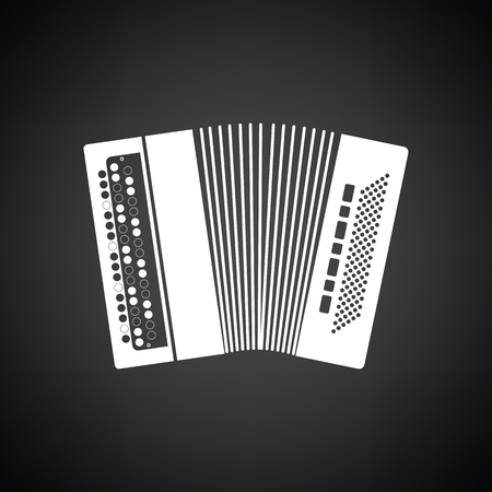 Accordion icon. Black background with white. Vector illustration.