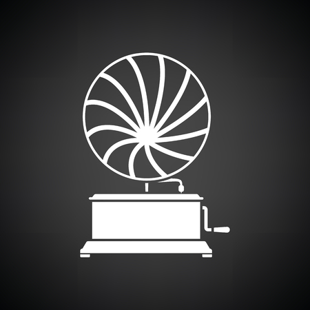 Gramophone icon. Black background with white. Vector illustration.