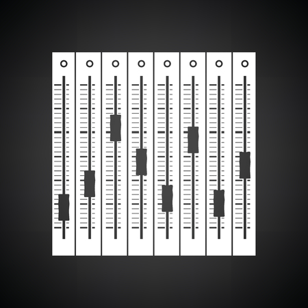 Music equalizer icon. Black background with white. Vector illustration. Vector Illustratie