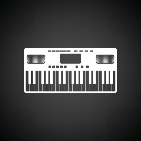 Music synthesizer icon. Black background with white. Vector illustration.