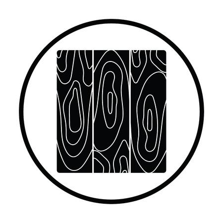 Icon of parquet plank pattern. Thin circle design. Vector illustration.