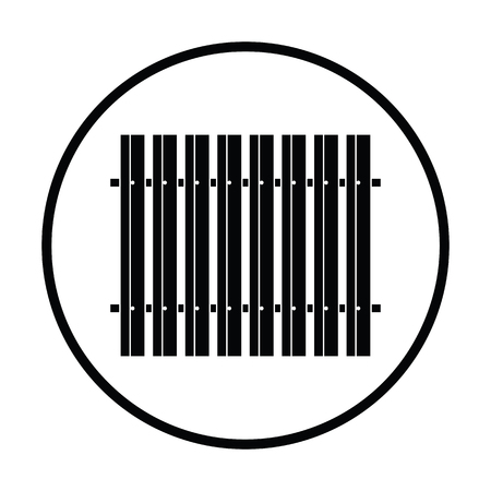 Icon of Construction fence . Thin circle design. Vector illustration.