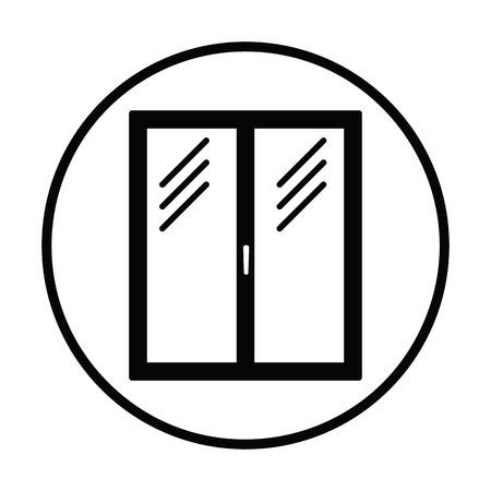Icon of closed window frame. Thin circle design. Vector illustration.