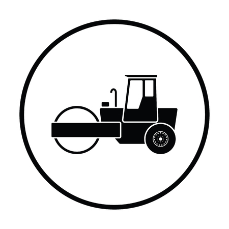 Icon of road roller. Thin circle design. Vector illustration.  イラスト・ベクター素材