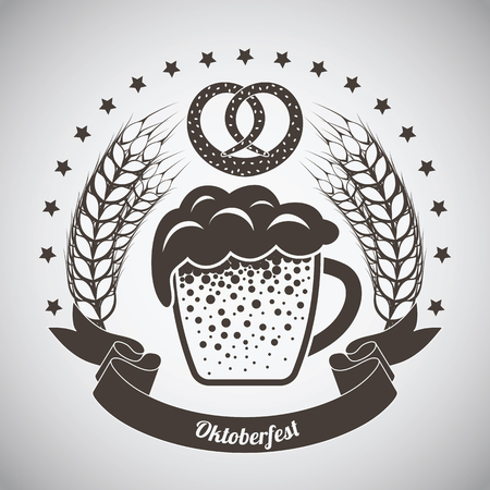 Oktoberfest Vintage Emblem. Dark brown over gray gradient background. Vector Illustration.