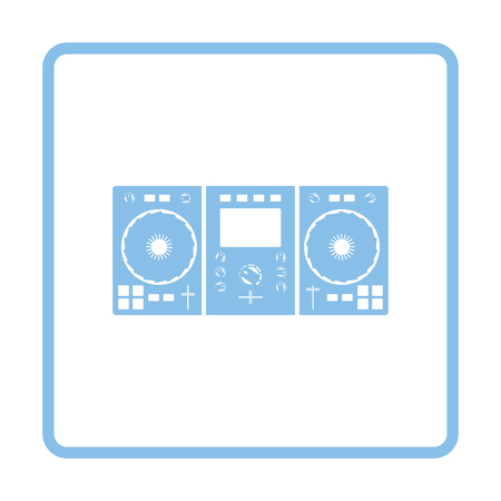 DJ icon. Blue frame design. Vector illustration.