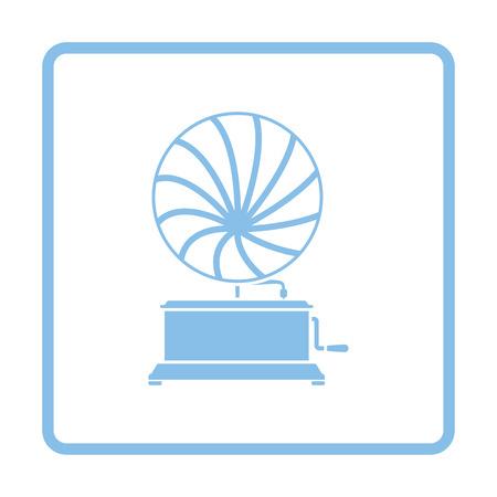 Gramophone icon. Blue frame design. Vector illustration.