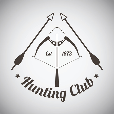 Hunting Vintage Emblem. Crossbow With Two Arrows.