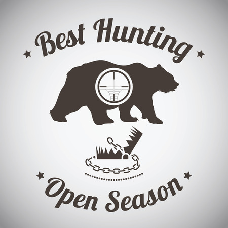 Hunting Vintage Emblem. Wild Bear Silhouette With 向量圖像