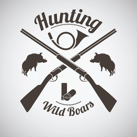 Hunting Vintage Emblem. Cross Hunting Gun With Ammo, Hunting Horn and Boars Silhouettes. Dark Brown Retro Style.  Vector Illustration.