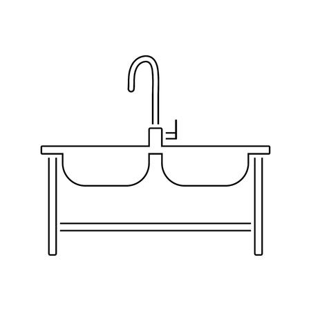 Double sink icon. Thin line design. Vector illustration.