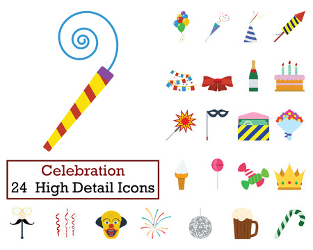 Set of 24  Party Icons. Flat color design. Vector illustration.