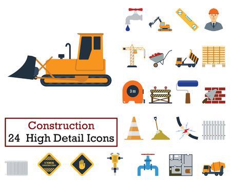 Set of 24 Construction Icons. Flat color design. Vector illustration. Vetores
