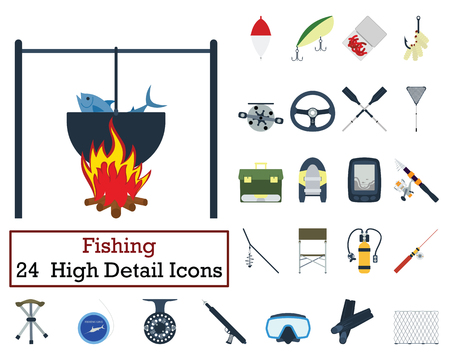 Set of 24 Fishing Icons. Flat color design. Vector illustration.